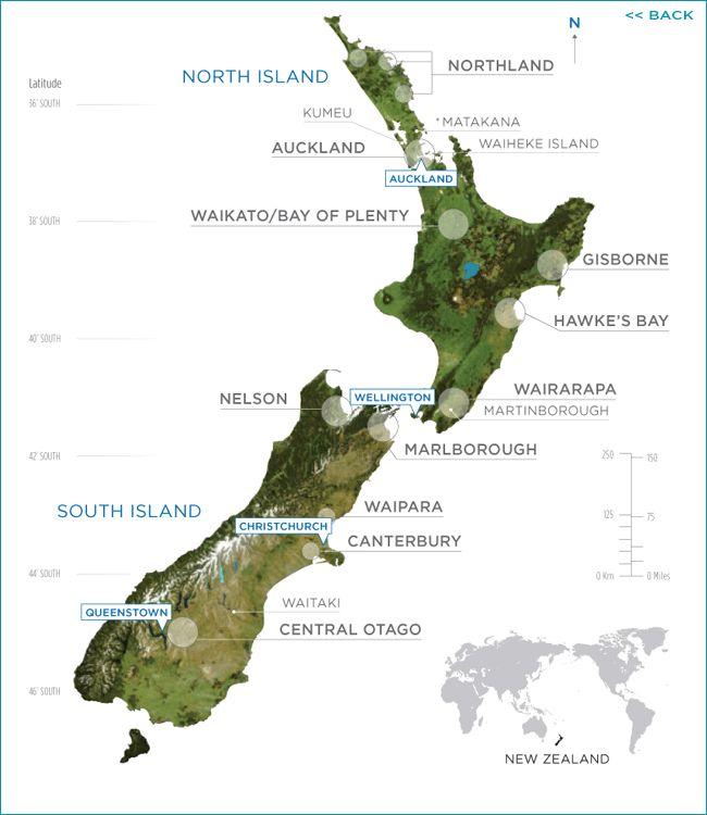 Map of #NewZealand with #NewZealandWine growing regions highlighted. #wine