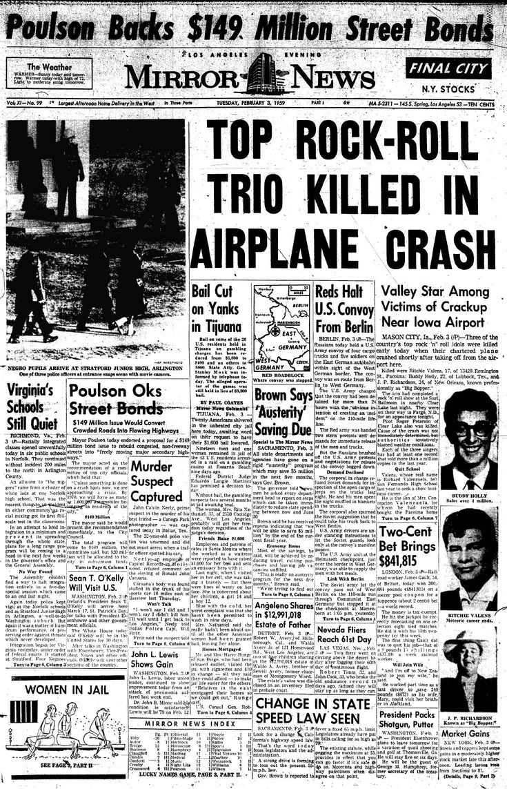 The Day the Music Died, February 3, 1959 ~ Buddy Holly, Ritchie Valens and The Big Bopper