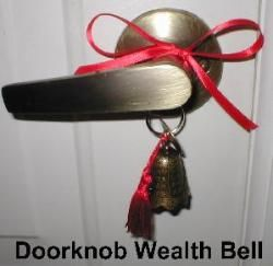 Doorknob Wealth Bell, Bell tassel, front door handle protect front entrance, kwan yin bell, Feng Shui Bells, bell to activate wealth front door, bell to keep money from escaping out doors.