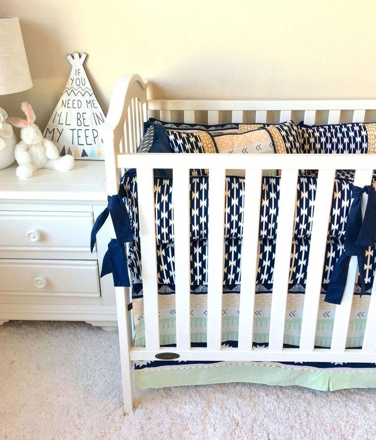 Boy's Crib Bedding, Navy Aztec Baby Bedding, Crib Bedding Set, Baby Boy Crib Bedding, Arid Horizons Crib Bedding, Luxury Crib Bedding Sets by RitzyBabyOriginal on Etsy https://www.etsy.com/listing/485624547/boys-crib-bedding-navy-aztec-baby