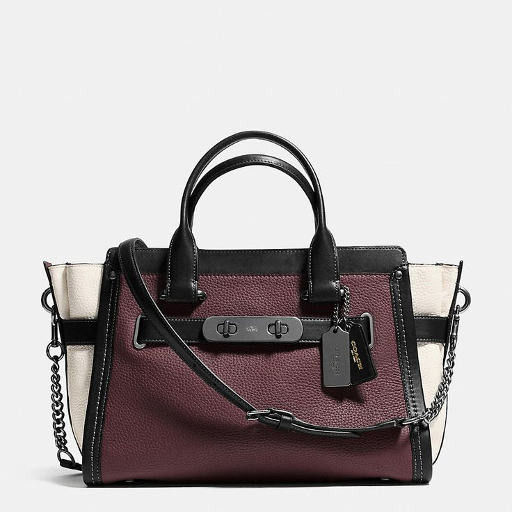 Coach Swagger With Chain in Pebble Leather Black Antique Nickel/Burgundy  Style No: 36995