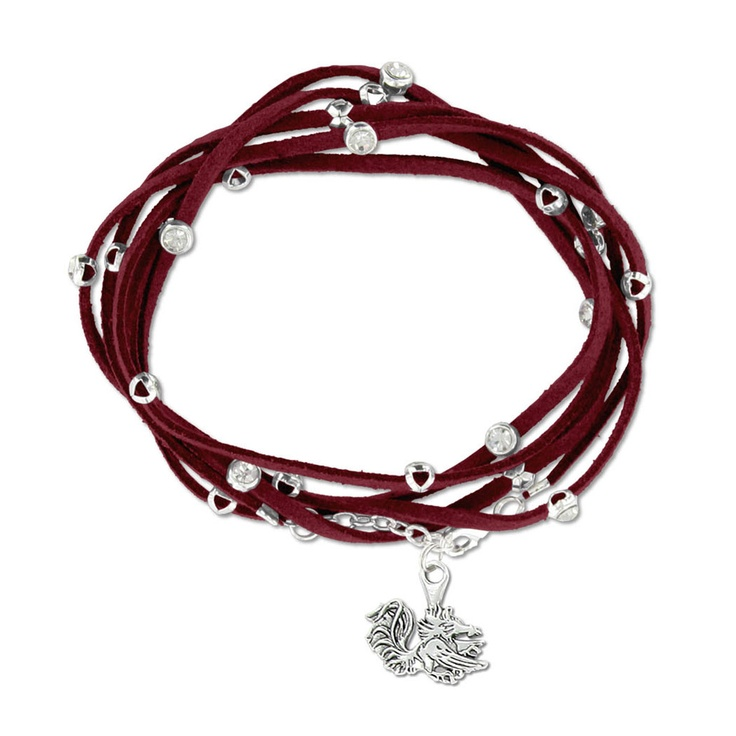South Carolina Gamecock Rhinestone Suede Strap Bracelet #gamecocks