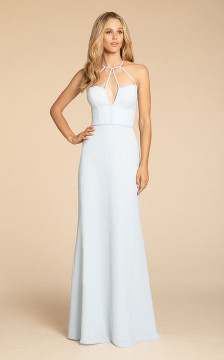 9e4f852b82dc Style 5911 Hayley Paige Occasions bridesmaids gown | Oasis chiffon A-line  gown, strap detail at neckline with V- notch, natural waist.