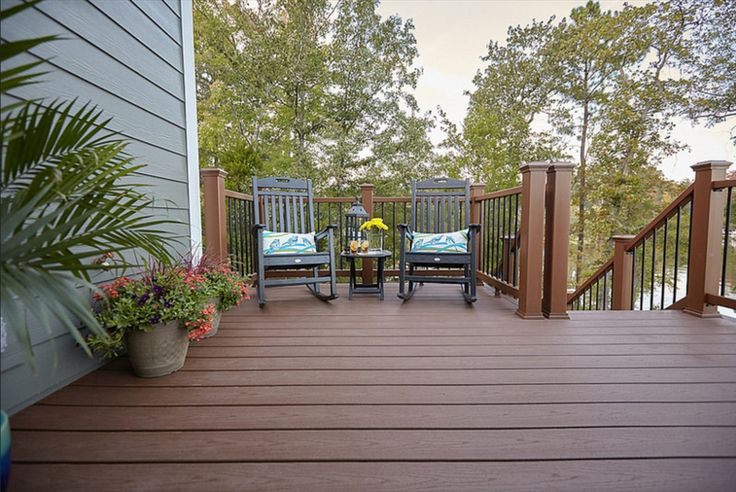Deck Featuring Trex Enhance Composite Decking In Saddle