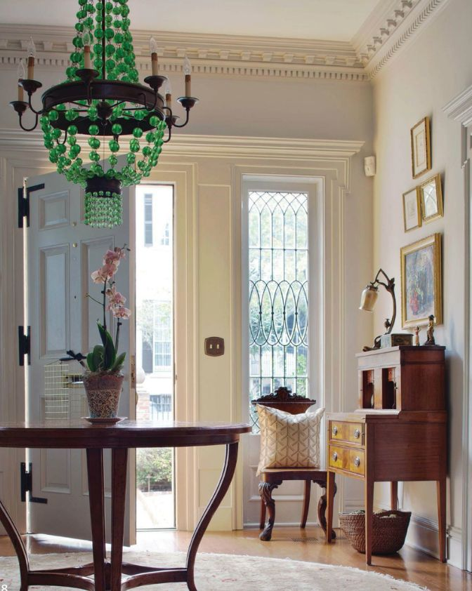 Green Foyer Table : Green beaded chandelier and center table love making