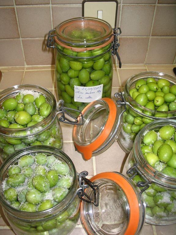 "Olives vertes en bocaux (saumure extra facile) - La Cachina ......................................... #GlobeTripper | ""Home-made Hospitality"" | https://www.globe-tripper.com"