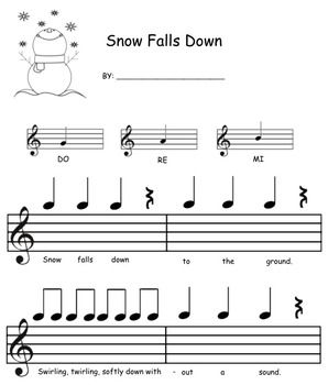 This worksheet allows students to compose their own Mi, Re, Do melody to the following poem:  Snow falls down to the ground Swirling, twirling, softly down without a sound.  It is a Smart Notebook download, so that you can demonstrate using the SmartBoard, but also print it off as a worksheet.