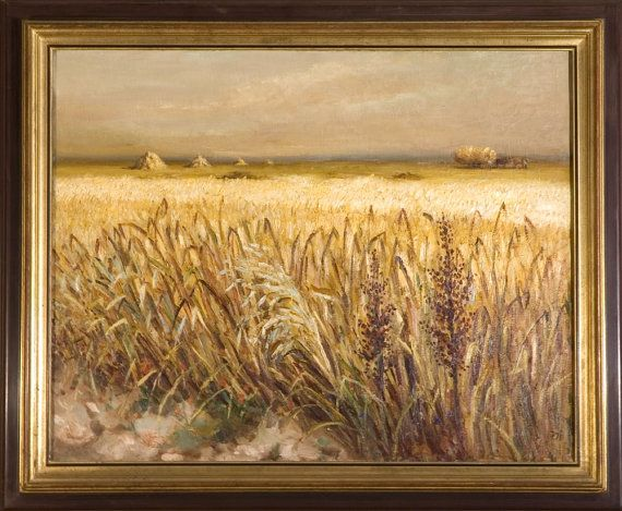Wheat field oil painting, French scenery, Oil on canvas,,Marcel Dyf, french sign, Arles, France, 1935, post-impressionnism, COA, sold framed