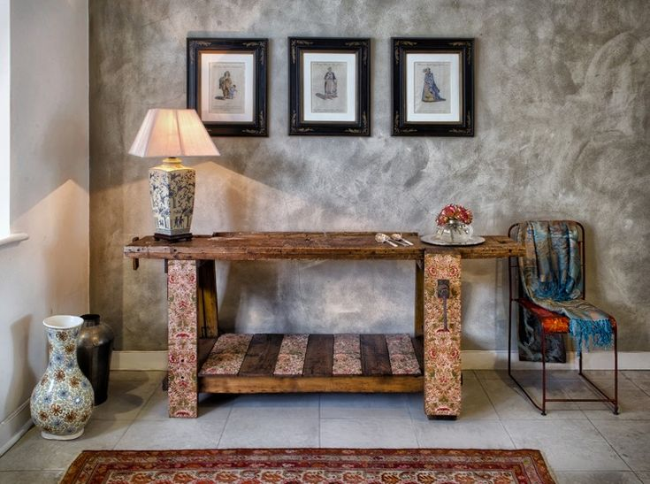 William Morris print on vintage work bench. Reclectic Art Furniture blends modern technology with art history heritage and classic design to create pixilated William Morris patterns on vintage furniture.