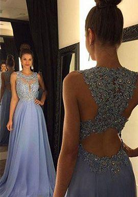 Prom Dress,prom dresses,A-line Chiffon Lace Long Prom Dress,Round Neck Evening Dress,Sequin Formal Dresses