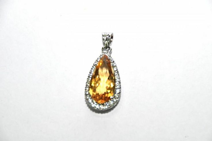 Not Enhanced 12.30 CT Yellow Citrine,Zircon Genuine Gemstone Pendant 925 Silver #Handmade #Pendant