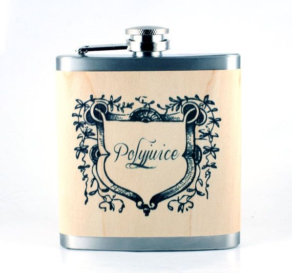 Polyjuice Flask- perfect gift for Harry Potter fans - real wood wrapped metal flask. $22.50, via Etsy.