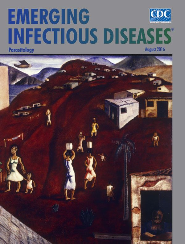 The August issue of EID is online. Cândido Portinari was born in 1903 on a coffee plantation in Brazil. This month's cover, Hill, depicts life in a favela in Rio de Janeiro. These communities suffer from a limited public health infrastructure, amplifying the spread of parasitic diseases. Decades since Portinari's painting, public health initiatives reduced deaths from parasitic disease in Brazil. With sufficient resources, these parasitic diseases may become a rarity.