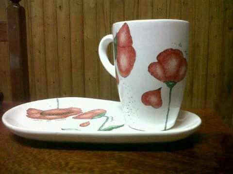 Tazas desayuno Amapolas
