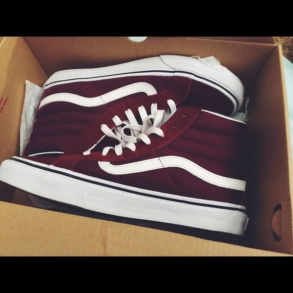 Maroon Sk8 Hi Vans Maroon Sk8 Hi Vans | ONLY worn once | Good Condition | Offer Friendly | Dye from shoes got on shoe laces nothing that can't be washed. Vans Shoes Sneakers
