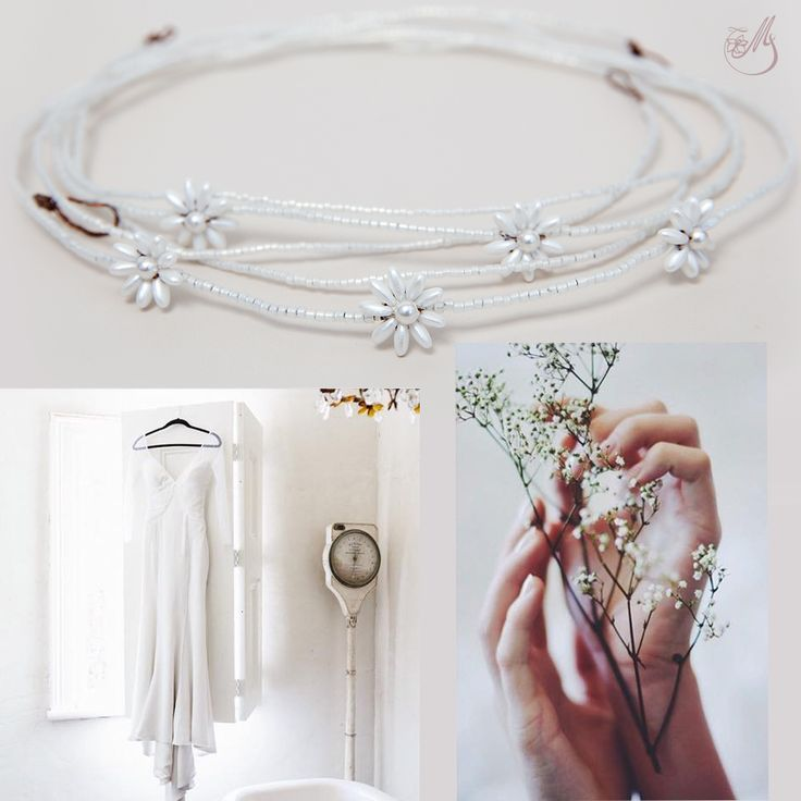 We are looking for #wedding inspiration these days and we did these #moodboards to inspire your special day! Of course, we added our own special #accessories, like this delicate #hairvine called Pearl List, created using #Miyuki glass #beads and adorned with #handmade delicate flowers made from Preciosa beads and #Swarovski  ivory pearls. #mbridal #bridaladornments #bridal2015 #accesoriimirese #lovehimbeforeyousayyes