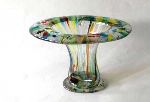 Elegant Vase Oval Shape Fused Glass Flower Vase Handmade Glass