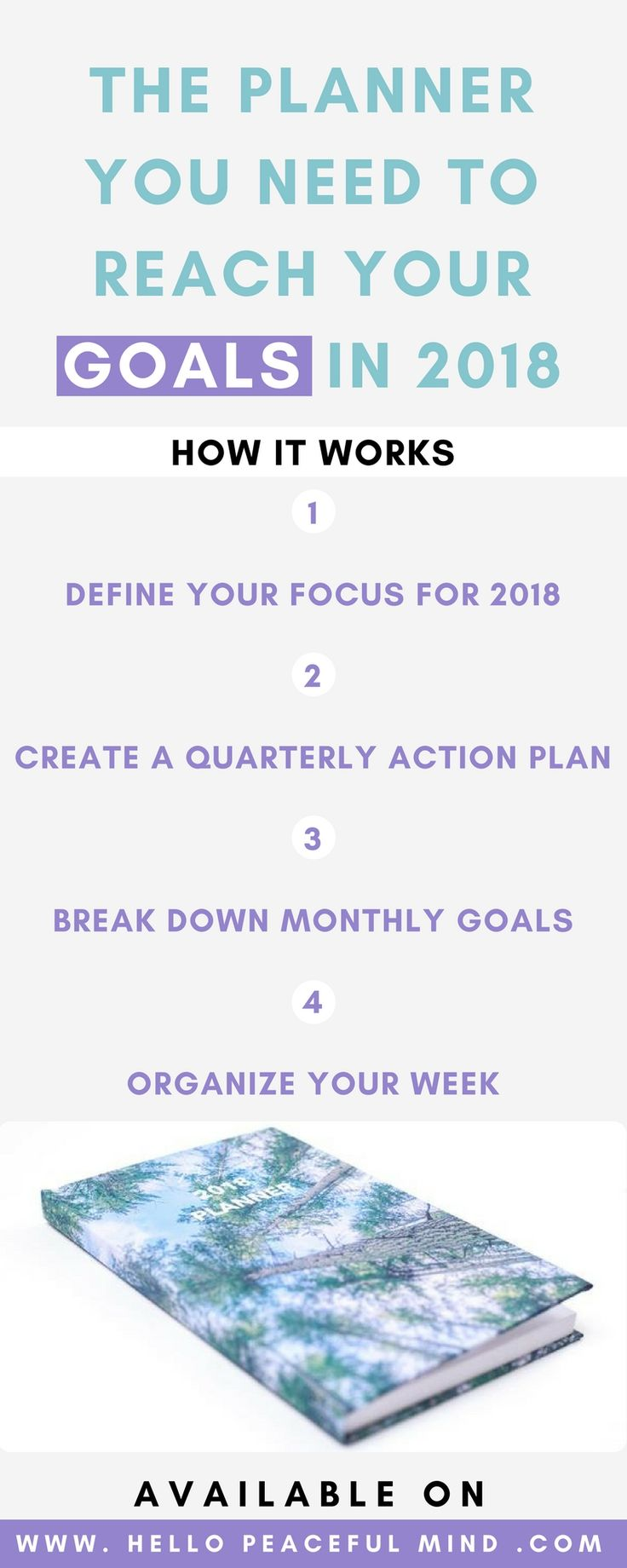 The 2018 Hello Peaceful Mind Planner will help you take action to change your life in 2018. You will create an action plan every quarter, break down goals into a to-do list every month and plan every day of your week to maximize your productivity. This planner has been designed to help YOU be more…