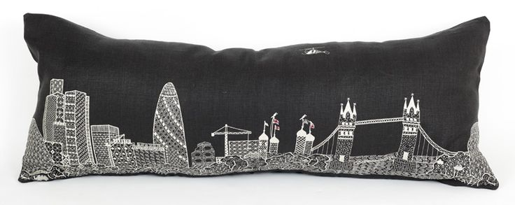 Gherkin and the Tower Bridge cushion from the Scenic range. Machine embroidery on grey, 100% linen. Available to buy from:  Www.charlenemullen.com