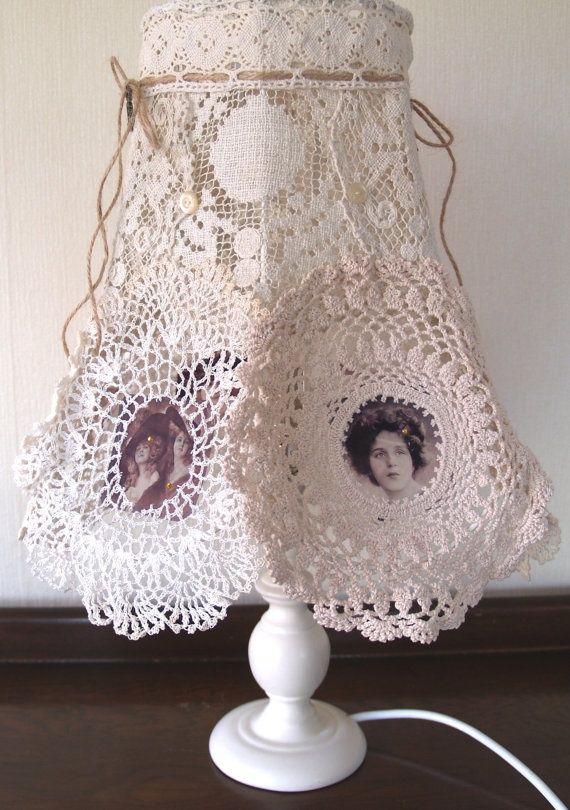 Gorgeous altered vintage lace doily lampshade.