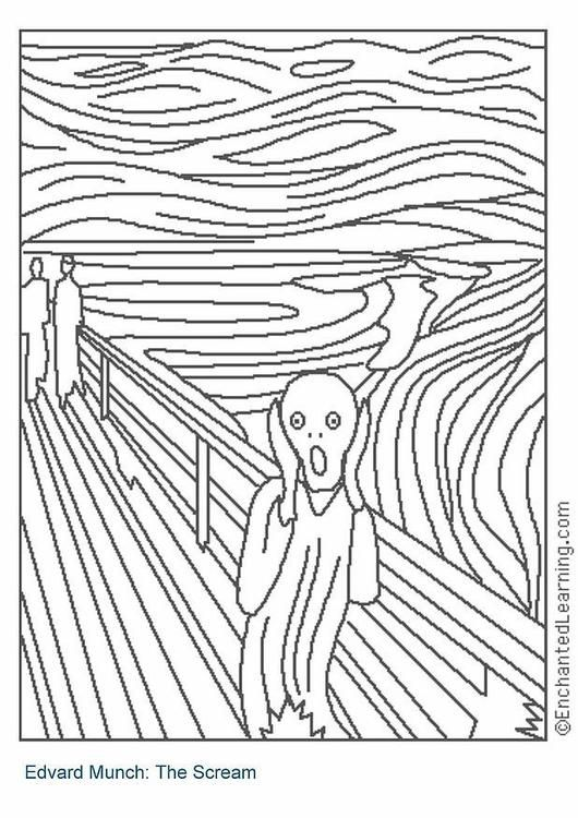 Coloring page The Scream - coloring picture The Scream. Free coloring sheets to print and download. Images for schools and education - teaching materials. Img 3203.