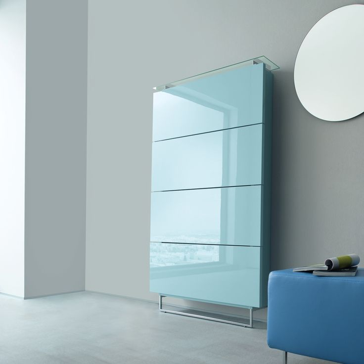 'Blue' shoe cabinet for every room. Luxury glass and style. Resistant and durable materials.