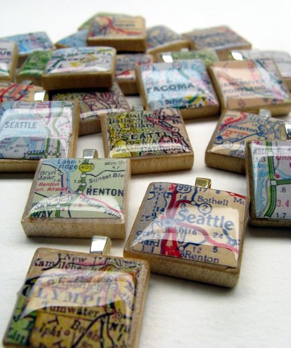 Map Scrabble Tile charms!
