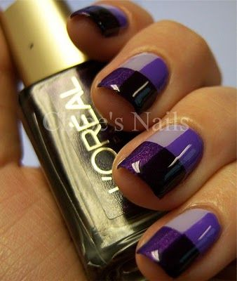 Checkered nails   Tip: use scotch tape to cover each section, do each section one at a time, and wait for the the polish to dry before taking the tape off, and wait a little more before you do the next section: Idea, Nail Polish, Nailart, Makeup, Nail Designs, Nails, Purple Color, Nail Art