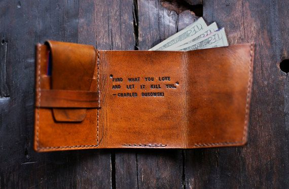 Mens Leather Wallet Walter Mitty Wallet Mens by RedLeafLeather