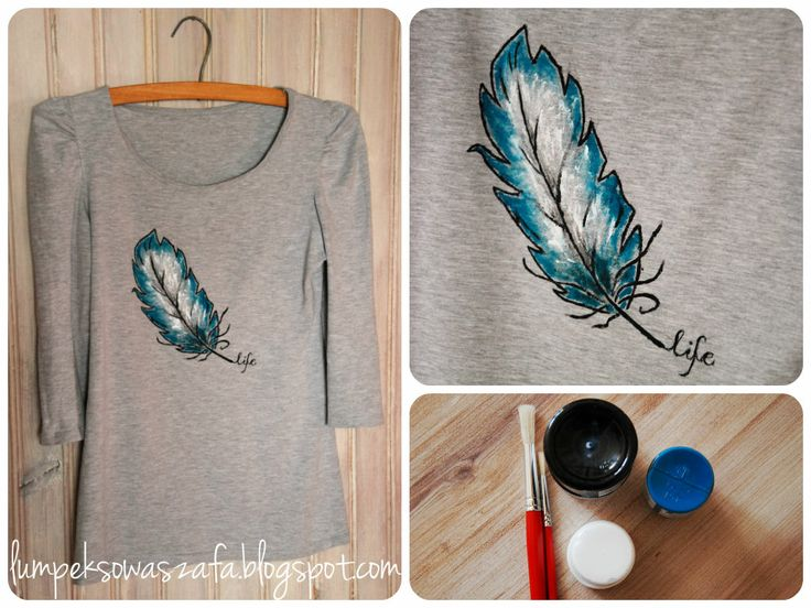 DIY  t-shirt. Hand-painted feather graphic