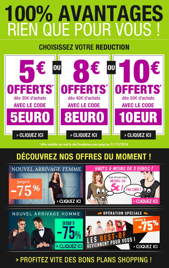 3 codes au choix / http://www.excedence.com / décembre 2014 #EmailMarketing #DigitalMarketing #EmailDesign #EmailTemplate #SocialMedia #EmailNewsletters #EmailRetail #excedence #codepromo #codereduc #codereduction