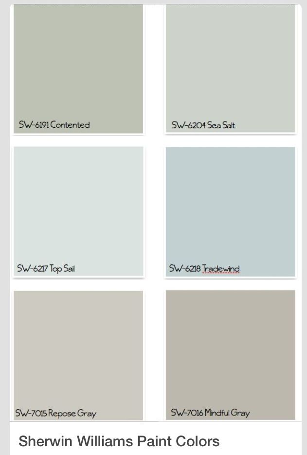 Sherman Williams paint colors. Get chip for Repose Gray. Have Sea Salt, Tradewind and Top Sail.