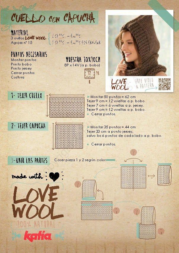 Buenas tardes, os dejamos otro patrón para hacer con LOVE WOOL, una maravillosa calidad 100% natural de KATIA, fácil y rápido. Disponibl...
