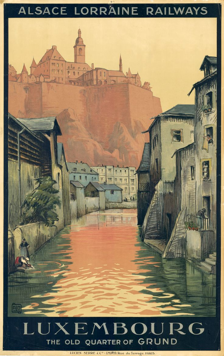 I am having a busy week; going into the city a lot. It seemed fitting today to post this old travel poster of the oldest part of Luxembour...