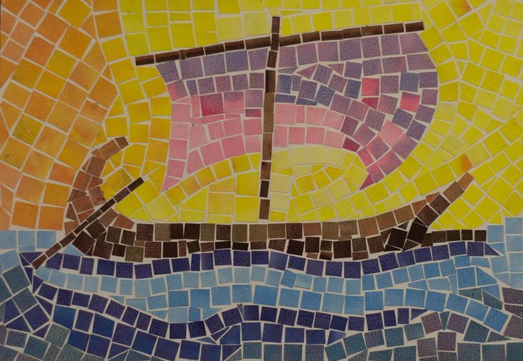 5th Grade: Art; Ancient History and Mythology; Greece: Colored Paper Mosaic: The Argo   Flickr - Photo Sharing!