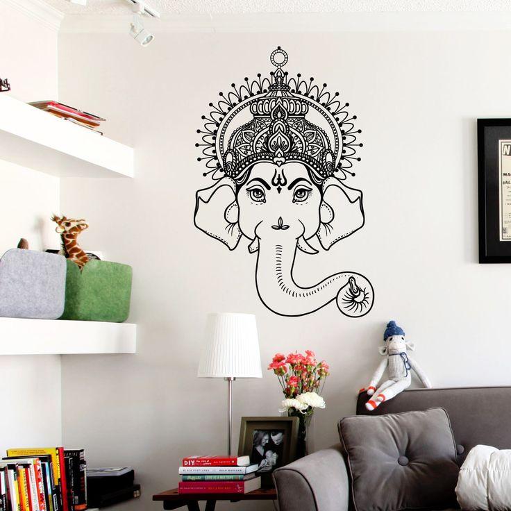 Mandala Tribal Buddha Elephant Wall Art Sticker Decal