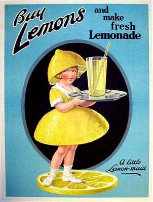 Buy Lemons - 1925 A wonderful advertisement for yellow lemonade on a turquoise background...