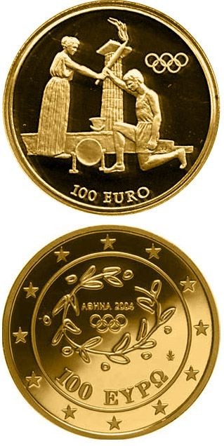 N♡T.100 euro: Torch Relay - Return Ceremony .Country:	Greece  Mintage year:	2004 Face value:	100 euro Diameter:	25.00 mm Weight:	10.00 g Alloy:	Gold Quality:	Proof Mintage:	10,000 pc proof