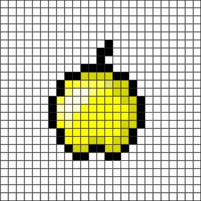 So easy. 15 blocks high. 12 blocks long. Minecraft easy pixel art templates. Golden apple.