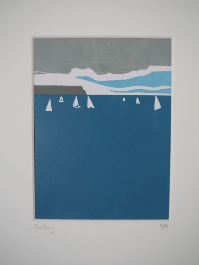 Sailing Lino Print - I love the simplicity of this.