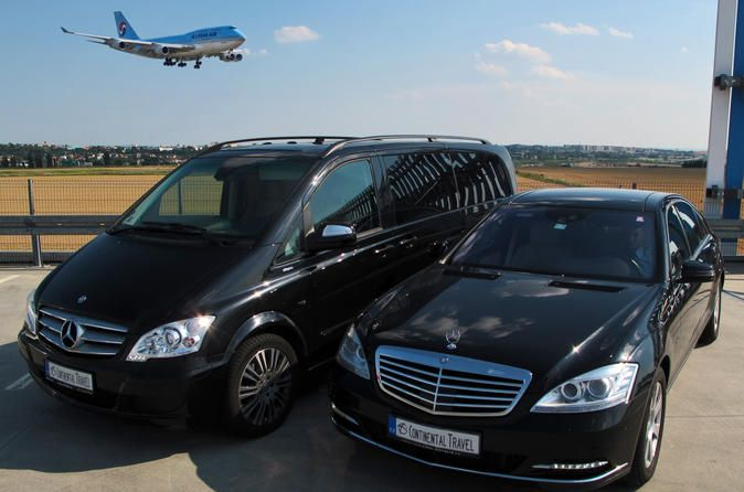 Prague Airport Shuttle: Private Arrival Transfer in Mercedes-Benz Vehicle 						Enjoy this hassle free half-an-hour private airport transfer with an English speaking professional driver. You will be collected with a luxury Mercedes-Benz vehicle from the Prague airport  and your driver will wait for you at the arrival hall with a card with your name printed on it.  		 											Take a private car, mini-van or limousine transfer in a clean and comfortable vehicle from Prague Ai...