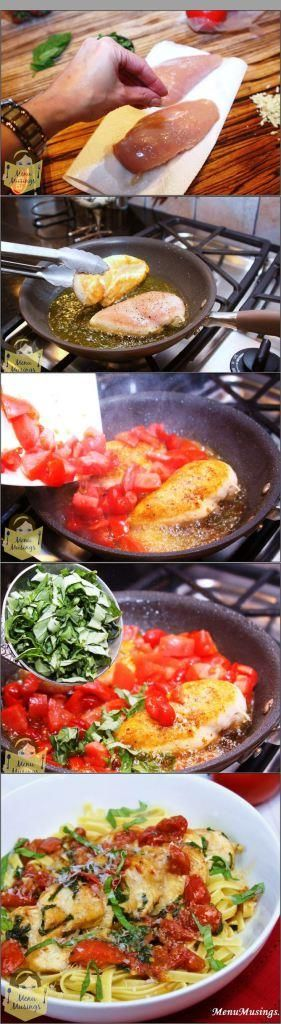 Tomato Basil Chicken Ingredients: (4 servings) 2 chicken breasts kosher salt and black pepper 2 Tbsp extra virgin olive oil 2 cups chopped fresh tomatoes 2 tsp minced fresh garlic 4 Tbsp cold butter 1/2 cup fresh basil, chopped freshly grated Parmigiano reggiano cheese, for garnish source =>Tomato Basil Chicken Continue reading... The post Tomato Basil Chicken appeared first on All The Food That's Fit To Eat .