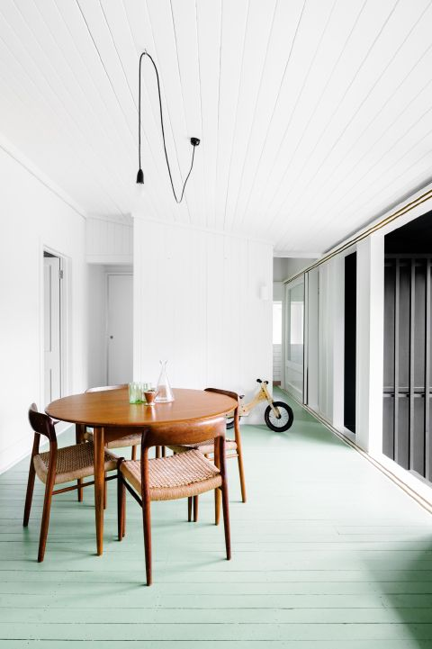 my scandinavian home: A beautifully simple home with green floors.  and love that light, too!