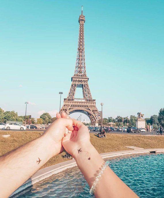 Tatuaggio aereo / tatuaggio cuore nero / aerei tatuaggio temporaneo / tatuaggio vacanza avventura per coppia / polso piccolo tatuaggio / calza regalo