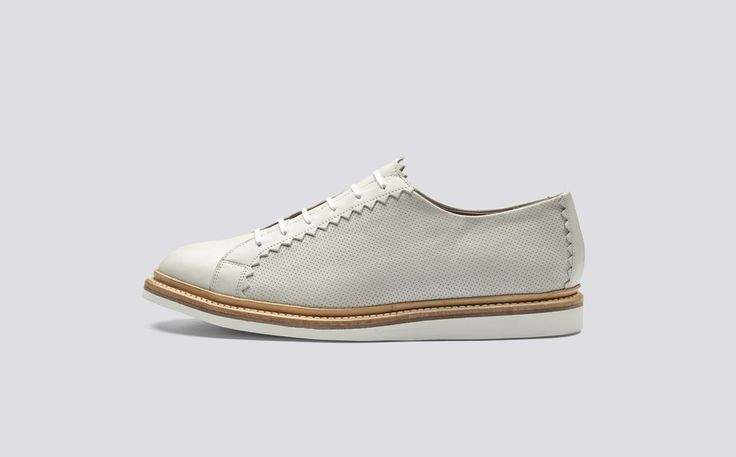 Ezra | Mens Shoe in Ivory Calf Leather with a White Rubber Sole | Grenson Shoes - Side View