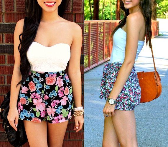 A virágos rövidnadrág betűrt, pánt nélküli felsővel a legcsinosabb - nőies nyári ruha hatását kelti.