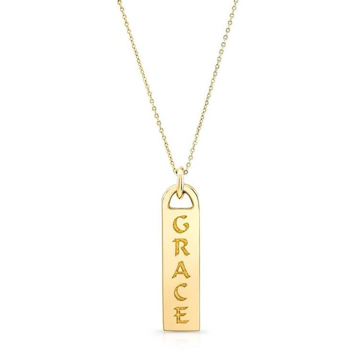 CORRINE / GRACE iD tag necklace in solid 14K gold & Italian gold chains
