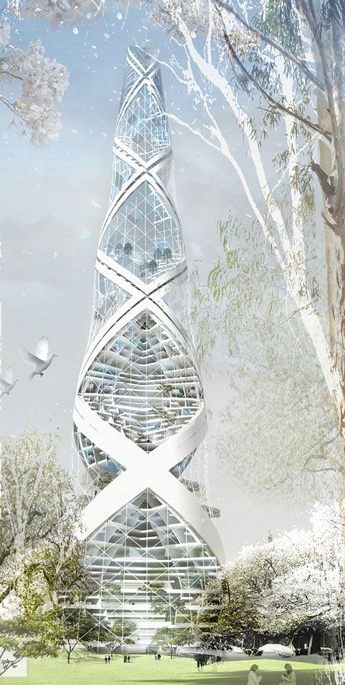 Spiral Tower, Berlin, Germany designed by Philipp von Bock Architect :: net-zero energy building proposal