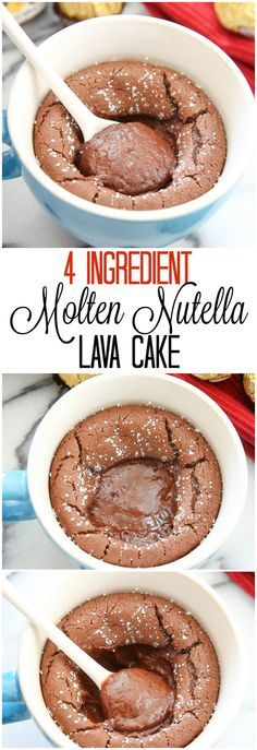 Cake in a mug with 4 ingredients? Now that's too good to be true. Mix Nutella, flour, baking powder, and milk in a mug. Bake at 350 degrees for 16-18 minutes for a yummy cake outside and a gooey center.