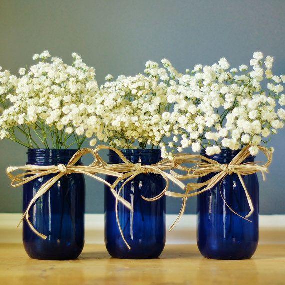 Set Of Three Cobalt Blue Mason Jar Vases Hand Painted